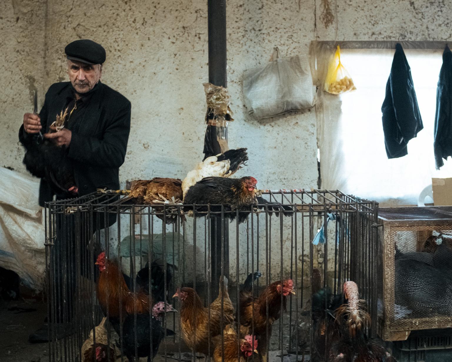 Now 55, Rasim is still selling chickens at the bazaar. Shaki, 2021