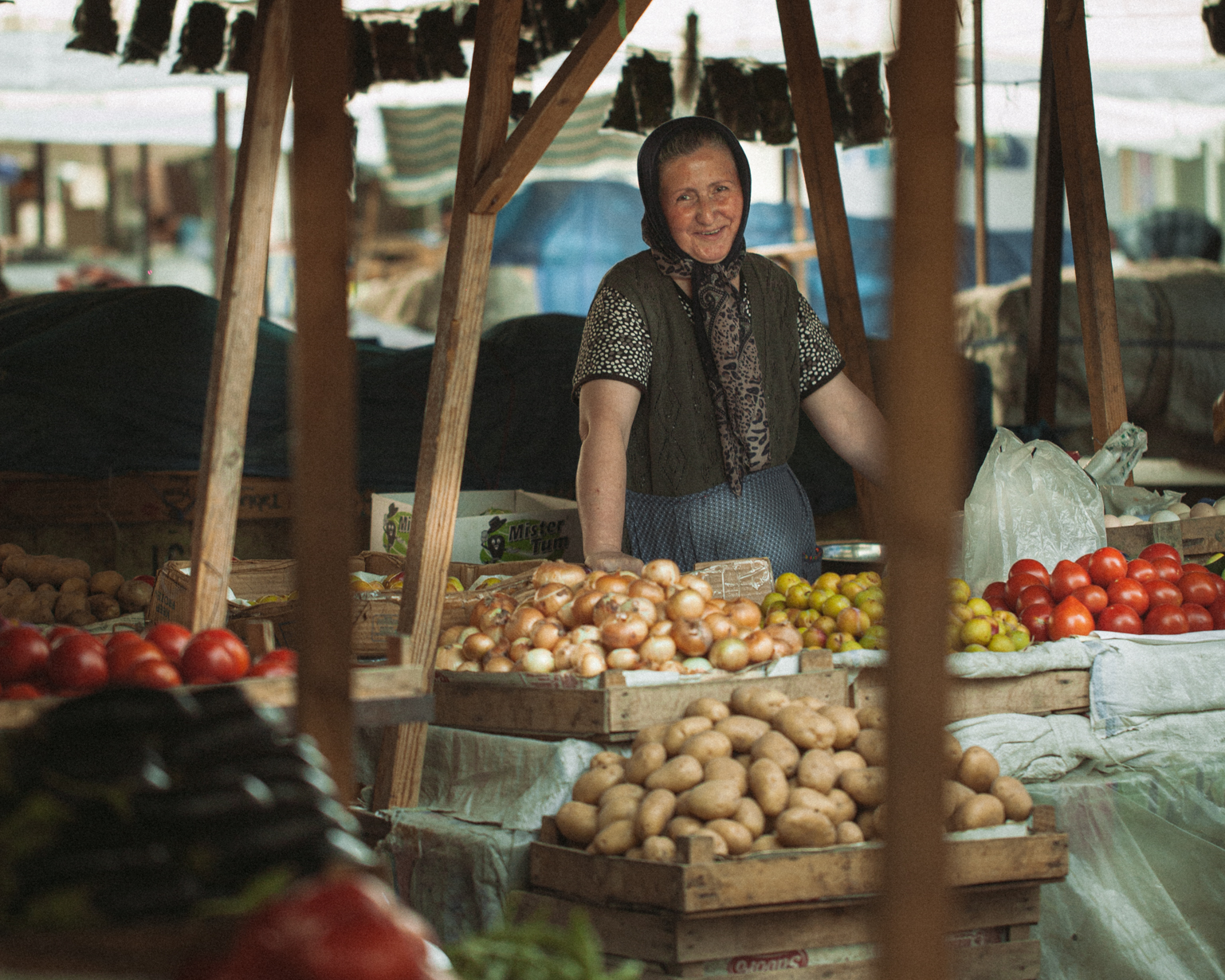 Valida sold vegetables in the bazaar. Shaki, 2015
