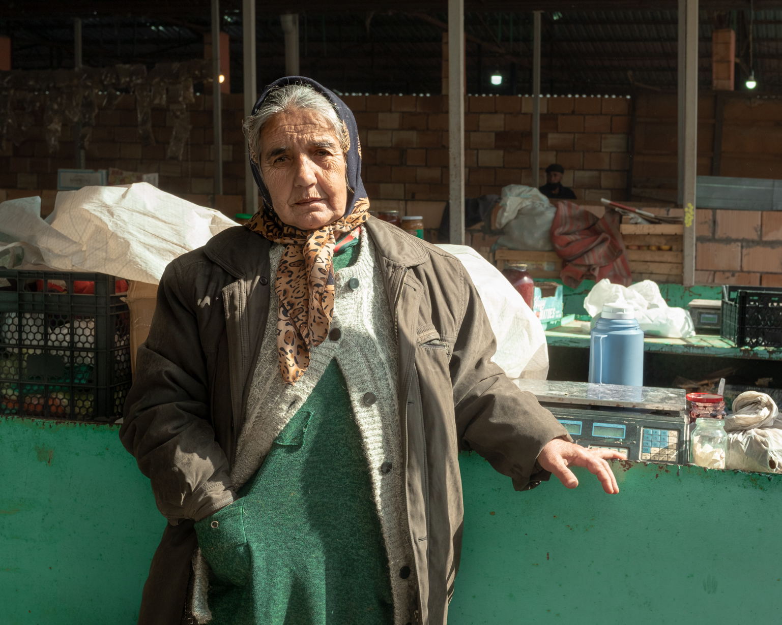 Nabat, 62, sells mixed goods in the winter. She dreams of driving to Shusha. Shaki, 2021