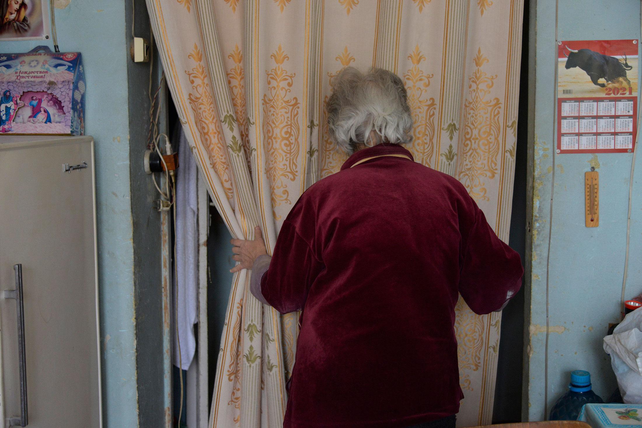 Julia Khachaturova, 73, prepares for her regular visit with Sveta Khachatryan, 68. Julia was forced ...