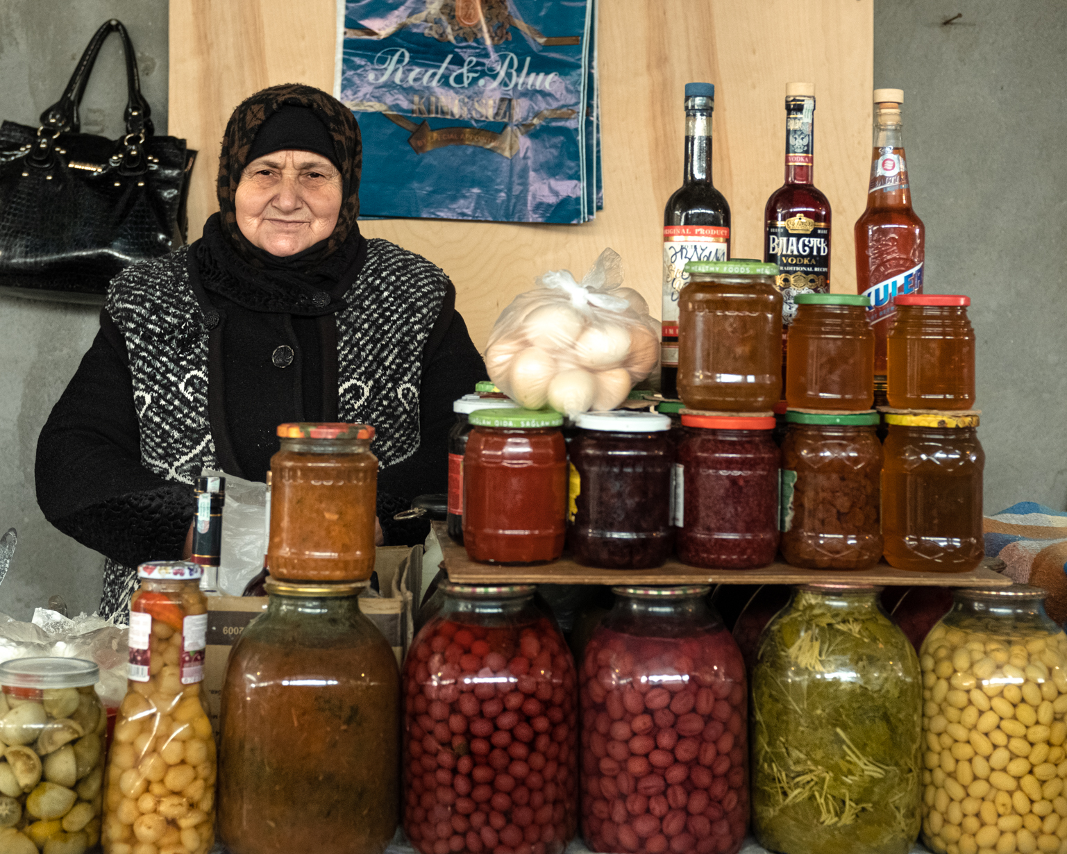 Fatima is 70 and she sells homemade jams, pickles, juices and sauces. She came to the bazaar to work ...